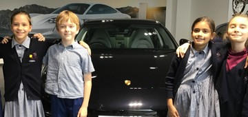 Year 5 pupils visit the Porsche Garage